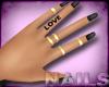 Black Nails Gold Rings