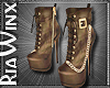Tan Suede Chain Boots