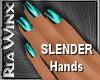 Wx:Slender Teal Nails