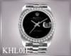 K silver watch M