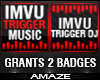 2 RED & BLACK DJ BADGES