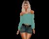 Dark Jean Skirt W/Belt