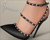 $ Studded Heels Black