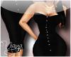 Long black button dress