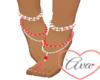 Feet Jewel Red/White