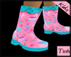 kids pink/teal rain boot