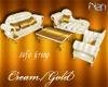 B*Cream/Gold Sofa Grp