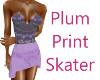 Plum Print Skater Dress