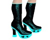-x- teal shiny boots