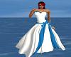 white/blue wedding dress