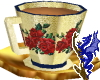 Gold Teacup Red Rose