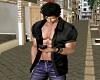 Black Silk Open Shirt -M