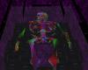 neon skeleton in coffin