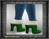 Green & White Fur Boots