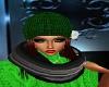 Green Beenie W/Brwn Hair