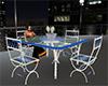 Blue White Patio Table