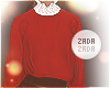 Lace Collar Sweater Red
