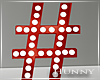 H. Marquee Red Hashtag #