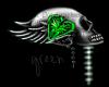 Skull love sticker green