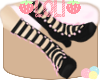 [L] Blk/Pnk Ribbon Boots