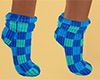 Teal Socks Plaid Short F
