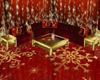 red/gold Christmas couch