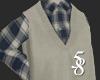 check & knit vest F