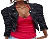 BLACK LEATHER RED TOP