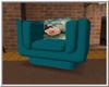 Aqua w Rose Chair