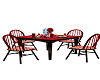 red,black table, chairs