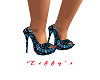Blue heels w rd diamonds