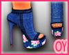 *D* Floral Jeans Heels