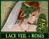 Lace Veil + Green Roses