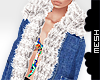 ! Layer. Denim Fur Coat