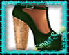 Green Leather Cork Heel