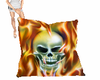 flaming skull pillow