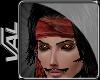 V- Red Pirate head scarf