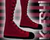 Red knee high sneakers