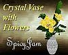 Crystal Vase/Ylw Flowers