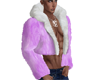 Layer Fur Coat Purple