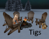 Realistic winter campfir