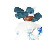 HAT BLUE ROSE WHITE