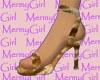 Fuzzy Golden Sable Heels
