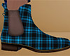 Teal Ankle Boots Plaid M