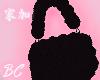 black fluffy purse