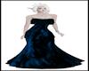 Blue Fur Ruffled Dress