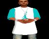 Aqua/White Jordan Tee