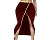 Red Front Split Skirt
