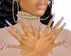Satin Pink Nails Bling