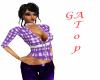 GA Purple checked top PF